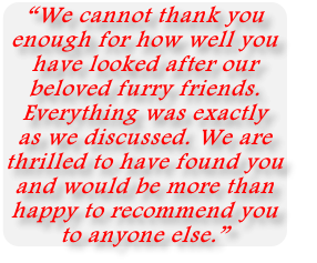 """We cannot thank you  enough for how well you  have looked after our  beloved furry friends.  Everything was exactly  as we discussed. We are  thrilled to have found you  and would be more than  happy to recommend you  to anyone else."""